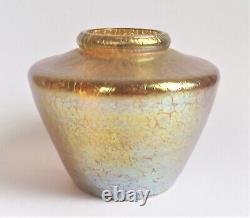 LOETZ Candia PAPILLON Gold 5 IRIDESCENT Antique BOHEMIAN ART NOUVEAU GLASS VASE