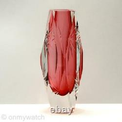 LOVELY Vtg MURANO Italy MANDRUZZATO Vase 6½ FACETS Italian ArT GLaSs CUT