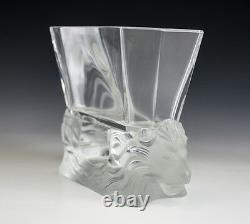 Lalique Art Glass Venise Double Lion Head Vase, canted corners, acid etched