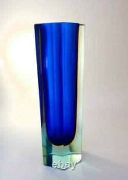 Large 2.3kg 1970s Alessandro Mandruzzato Sommerso Murano Faceted Art Glass Vase