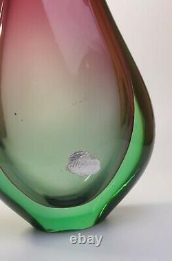 Large 60s Luigi Onesto Italian Murano Art Vaseline Glass Fishtail Vase Sommerso