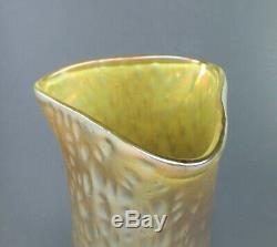 Large Antique LOETZ Iridescent Martele Decor Art Glass Vase circa 1898 13 Tall