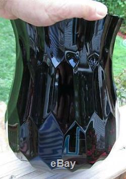 Large Moser Bohemian Art Glass Mirror Black Amethyst Cut Glass Vase