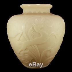 Large Rare Art Deco Steuben Stamford Acid-etched Ivory Glass Vase Gazelles #2683