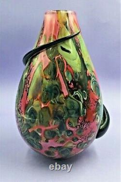 Large Robert Eickholt Art Glass Vase With Applied Spiral Signed, Dated 2000