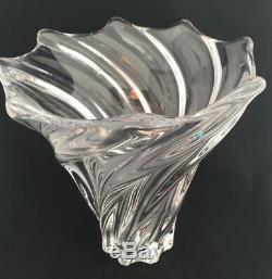 Large Spiral Fluted Top Art Vannes France Le Chatel Nancy Flower Vase Crystal
