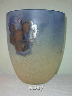 Large Vintage Alfredo Barbini Murano Scavo Art Glass Vase / Bowl Signed 1960's