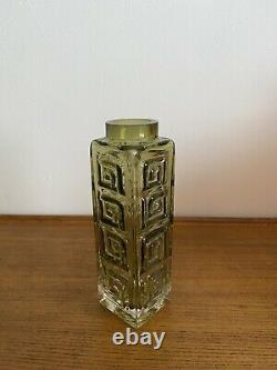 Large Whitefriars Glass Greek Key Vase Rare Sage Green Colour Perfect Art Glass