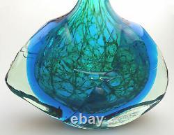 Large vintage Maltese Mdina Art Glass Fish Axe Head Vase M Harris design C. 1978