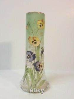 Legras Lamartine Art Nouveau Glass 11.5 Vase, Enameled Pansies, c. 1910-25 (#2)