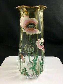 Legras Mont Joye France Enameled Glass Art Nouveau ANEMONE 10 Vase c. 1900