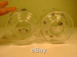 Leonardo Millefiori White Glass Murano Art Glass Hand Blown Vase/Goblet Set of 2