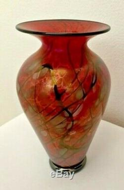 Lindsay Art Glass Signed Phoenix Blown Glass Vase 6.75 inches tall