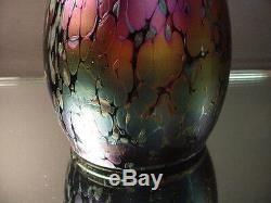 Loetz Art Glass Purple Phanomen Vase Art Nouveau Oil Spot withFlared &Crimp Design