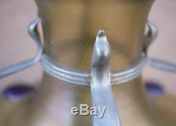 Loetz Bohemian Gold Iridescent Glass Vase Art Nouveau Pewter Frame Attr Kralik