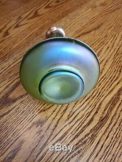 Loetz Bohemian Kralik Arts & Crafts Green Art Glass Vase with Copper Overlay