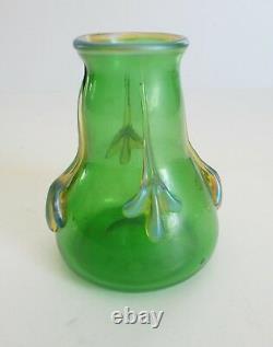 Loetz CRETA GLATT Art Glass Vase, Iridescent Accents, c. 1910