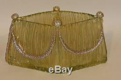 Loetz Czech Bohemian Gold Iridescent Art Glass Empire Swag Vase on Texas Ground
