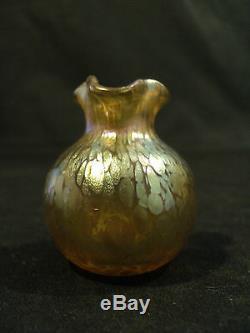 Loetz Iridescent Art Nouveau Glass Art Glass Oil Spot Miniature Vase