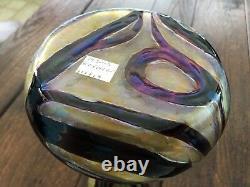Loetz Kralik Pallme Koenig Burgundy Swirl on Gold Art Glass Vase ca. 1900