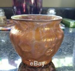 Loetz Metallic Orange Astglas Art Vase Bowl 3.5 mint