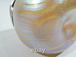 Loetz Phaenomen Vase Antique Art Nouveau Austrian Glass Silver Overlay