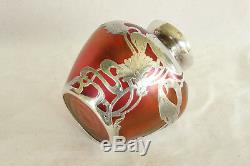 Loetz Red Iridized Art Glass Sterling Silver Overlay Art Nouveau Cabinet Vase