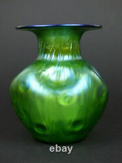 Loetz Rusticana large iridescent green glass vase Bohemian Art Nouveau antique