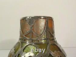 Loetz TITANIA Silver Overlay Art Glass 4.5 Vase, C. A. C. Prize, c. 1911