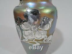 Loetz Vase Antique Art Nouveau Bohemian Czech Glass & Silver Overlay