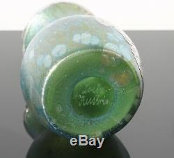 Loetz Widow Creta Papillon Iridescent Glass Vase with Silver Overlay Art Nouveau