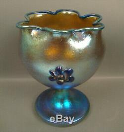 Loetz /czech Art Glass Footed Vase With Applied Flowers