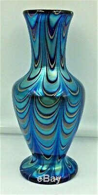 Lundberg Studio Waterfall Pattern Iridescent Art Glass Vase- Signed- Dated 1999