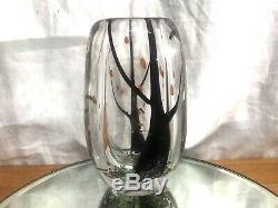 MCM 1950s KOSTA BODA VICKE LINDSTRAND AUTUMN TREE HUST ART GLASS VASE