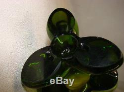 MID Century Modern Signed Viking 23.5 Olive Green Art Glass Vase