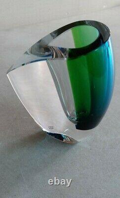 MODERN Art Glass Vase Kosta Boda MIRAGE Goran Warff Design Blue Green 6-1/8