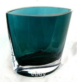 MOSER VASE BOAT SHAPED ART MODERN SMOKEY BLUE c. 1950'S