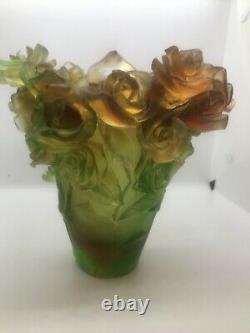 Magnificent Nancy Daum Style Art Glass Rose Vase 21/21/19 Cm 6,4lb Signed France