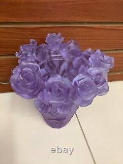 Magnificent Pate De Verre Lilac Rose Vase 6.45 Pounds Heavy Glass Art Signed
