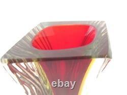 Mandruzzato Textured & Faceted Murano RUBY RED & AMBER art glass block vase