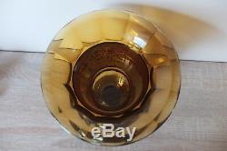 Marked Moser Art Deco Amber Glass Vase with Warrior Frieze Czech