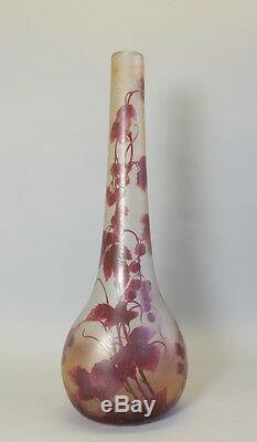 Massive & Rare 25.5 Legras Cameo Glass Vase c. 1920 French Art Nouveau