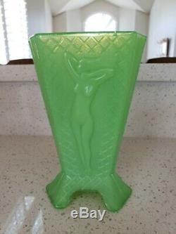 McKee Jadeite Jadite Glass Art Deco Nude Lady 3 Sided Triangle Vase Made to Lamp