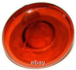Mid Century Blenko Art Glass Husted Tangerine Floor Decanter Vase # 561