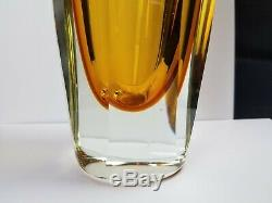 Mid Century Yellow Murano Art Glass Faceted Vase