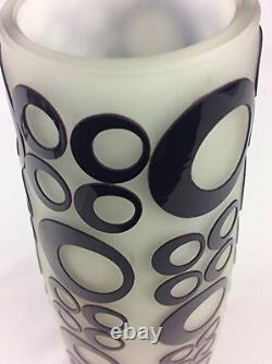 Mid century vintage cased cut art glass vase MCM