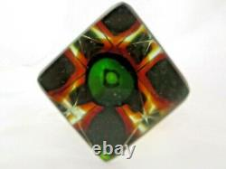 Monumental green and amber facet cut Murano sommerso art glass vase RARE SIZE