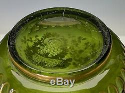 Moser Antique Large Art Glass Vase Green with Rich Gold Rococo Decoration