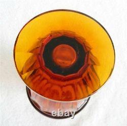 Moser art glass vase amber color- gilt gold figural scene band