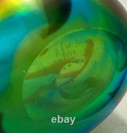 Murano Afro Celotto Green, Brown, Blue Striped Modernist Art Glass Vase, 2001